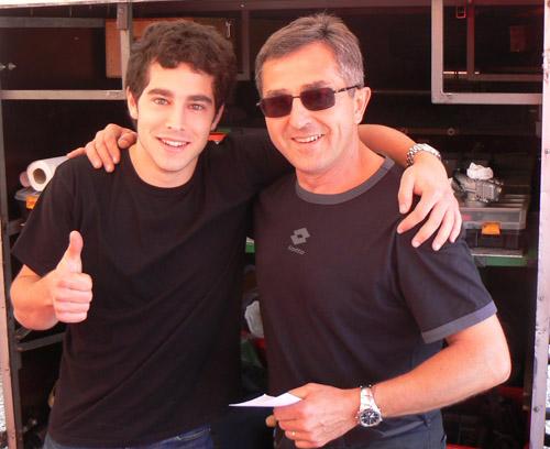Vincent et Patrice son père qui sera lapin au Mans